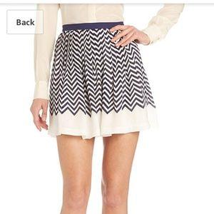 Joie Silk Chevron Pleated Skirt